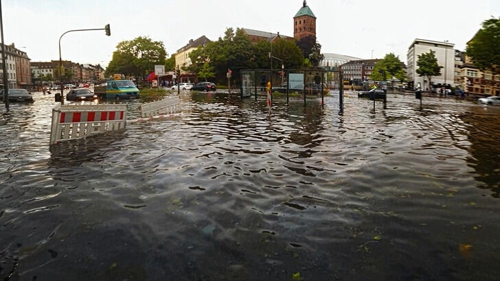 Flooded public space